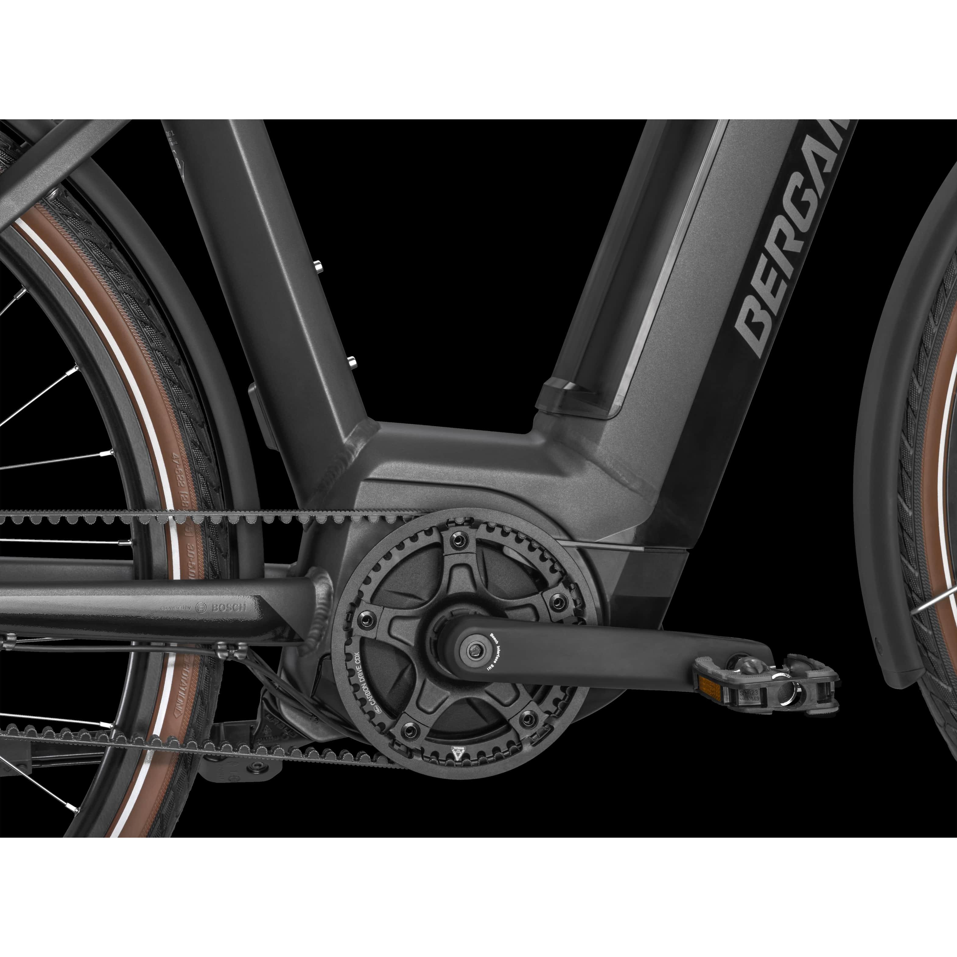 "Bergamont E-Horizon N5e FH 500 Wave Belt, S44 - 500WH, Freilauf, Anthracite, 28"", MJ2021"